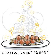 Clipart Of A Plate Of Steaming Hot Mushrooms And Checkers Royalty Free Vector Illustration by BNP Design Studio