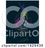 Clipart Of A Group Of Glowing Colorful Mushrooms With Magic Dust On A Dark Background Royalty Free Vector Illustration