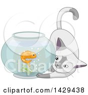 Clipart Of A Cat Playing With A Goldfish In A Bowl Royalty Free Vector Illustration