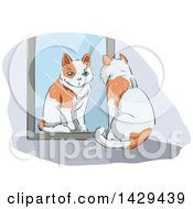 Clipart Of A Cat Watching Itself In A Mirror Royalty Free Vector Illustration