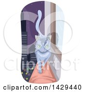 Clipart Of A Cat Walking On A Skyscraper Ledge Against A City At Night Royalty Free Vector Illustration