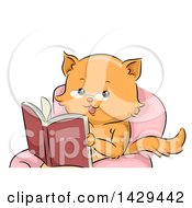 Ginger Cat Wearing Glasses Sitting In A Chair And Reading A Book