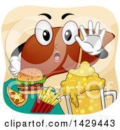 Clipart Of A Human Liver Mascot Refusing Junk Food Royalty Free Vector Illustration by BNP Design Studio