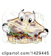 Clipart Of A Stinky Spoiled Sandwich Mascot Royalty Free Vector Illustration