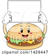 Happy Cheeseburger Holding Up A Blank Sign