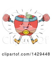 Clipart Of A Victorious Boxer Apple Celebrating And Wearing A Championship Belt Royalty Free Vector Illustration by BNP Design Studio