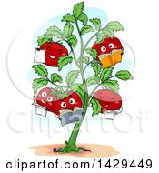 Clipart Of A Tomato Plant With Happy Fruits Reading Books Royalty Free Vector Illustration