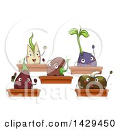 Clipart Of A Class Of Seedling Plants Royalty Free Vector Illustration