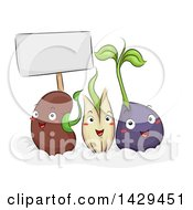 Clipart Of A Group Of Seed Characters Demonstrating The Germination Process Royalty Free Vector Illustration