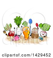 Clipart Of A Group Of Happy Vegetable Mascots Gardening Royalty Free Vector Illustration