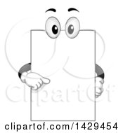 Clipart Of A Cartoon Blank Board Mascot Pointing Royalty Free Vector Illustration
