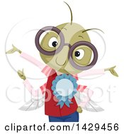 Clipart Of A Nerdy Bug Wearing Glasses And Showing Off A Ribbon Royalty Free Vector Illustration