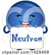Clipart Of A Happy Neutron Atomic Particle Mascot Royalty Free Vector Illustration