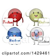 Clipart Of A Happy Group Of Atomic Particle Mascots Royalty Free Vector Illustration