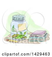 Clipart Of A Caterpillar Eating Leaves Inside A Jar By School Books Royalty Free Vector Illustration by BNP Design Studio
