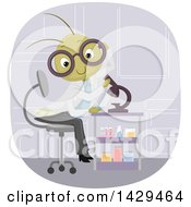 Clipart Of A Cricket Scientist Using A Microscope Royalty Free Vector Illustration by BNP Design Studio