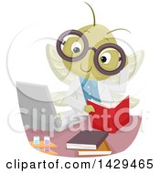 Clipart Of A Scientist Cricket Reading A Book And Using A Laptop In A Laboratory Royalty Free Vector Illustration by BNP Design Studio
