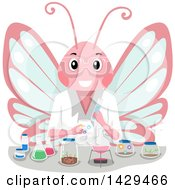 Clipart Of A Butterfly Scientist Doing A Chemistry Experiment Royalty Free Vector Illustration by BNP Design Studio