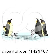 Clipart Of A Family Of Emperor Penguins Playing Royalty Free Vector Illustration by BNP Design Studio