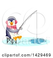 Clipart Of A Cute Penguin Ice Fishing Royalty Free Vector Illustration