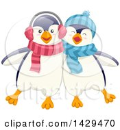 Clipart Of Cute Penguin Friends Royalty Free Vector Illustration by BNP Design Studio