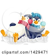 Clipart Of Cute Penguins Eating Ice Cream Royalty Free Vector Illustration by BNP Design Studio