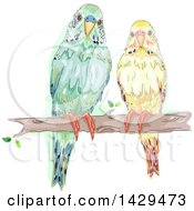Clipart Of A Pair Of Parakeets On A Tree Branch Royalty Free Vector Illustration by BNP Design Studio
