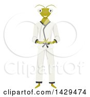 Clipart Of A Praying Mantis Mascot In A Karati Gi Royalty Free Vector Illustration by BNP Design Studio