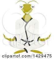 Clipart Of A Praying Mantis Mascot Meditating In A Karati Gi Royalty Free Vector Illustration by BNP Design Studio