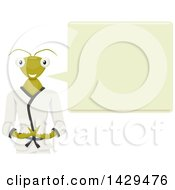 Clipart Of A Talking Praying Mantis Mascot In A Karati Gi Royalty Free Vector Illustration by BNP Design Studio