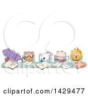 Clipart Of A Group Of Animal Students Studying At A Table Under Text Space Royalty Free Vector Illustration