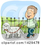 Clipart Of A Cartoon Happy Caucasian Man Walking His Dog Royalty Free Vector Illustration
