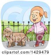 Cartoon Happy Caucasian Woman Walking Her Dog
