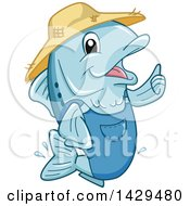 Clipart Of A Happy Farmer Fish Giving A Thumb Up Royalty Free Vector Illustration