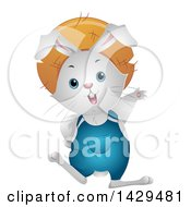 Clipart Of A Happy White Farmer Rabbit Waving Royalty Free Vector Illustration