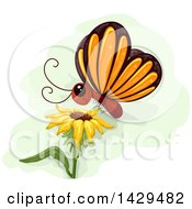 Clipart Of A Cute Butterfly Landing On A Sunflower Royalty Free Vector Illustration by BNP Design Studio