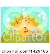 Clipart Of A Sun And Mountains Singing At Dawn Royalty Free Vector Illustration