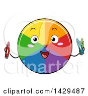 Clipart Of A Happy Color Wheel Mascot Holding Crayons Royalty Free Vector Illustration