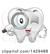 Clipart Of A Happy Tooth Mascot Character Looking Through A Magnifying Glass Royalty Free Vector Illustration