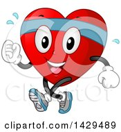 Clipart Of A Happy Fit Love Heart Mascot Jogging Or Speed Walking Royalty Free Vector Illustration