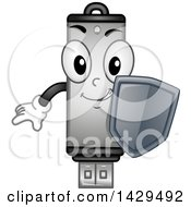 Clipart Of A Usb Flash Drive Mascot Holding A Security Shield Royalty Free Vector Illustration