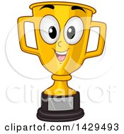 Clipart Of A Happy Gold Trophy Cup Royalty Free Vector Illustration