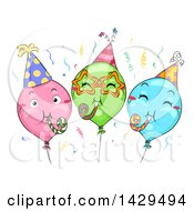Clipart Of A Group Of Colorful Party Balloons With Noise Makers Royalty Free Vector Illustration by BNP Design Studio