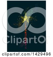 Clipart Of A Colorful Magic Wand With Dust On A Dark Background Royalty Free Vector Illustration by BNP Design Studio