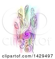 Clipart Of A Colorful Swirl Hand On White Royalty Free Vector Illustration