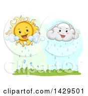 Clipart Of A Happy Sun And Rain Cloud Over Grass Royalty Free Vector Illustration by BNP Design Studio