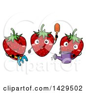Clipart Of A Group Of Happy Strawberry Characters Gardening Royalty Free Vector Illustration