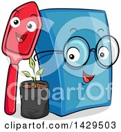 Clipart Of A Happy Shovel And Book With A Seedling Plant Royalty Free Vector Illustration