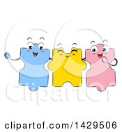 Clipart Of A Group Of Puzzle Piece Mascots Royalty Free Vector Illustration by BNP Design Studio