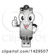 Clipart Of A Usb Flash Drive Mascot Giving A Thumb Up Royalty Free Vector Illustration by BNP Design Studio